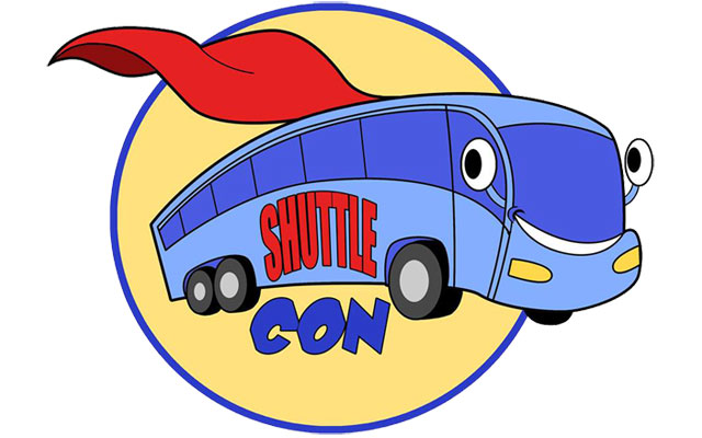 Animated superhero bus with ShuttleCon written on the side